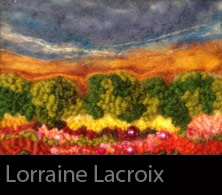 embroidered landscape image with a brilliant sunset
