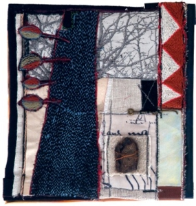 tree artwork created with textiles, fibres and stitching