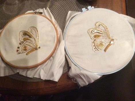 Goldwork butterflies, in the hoop