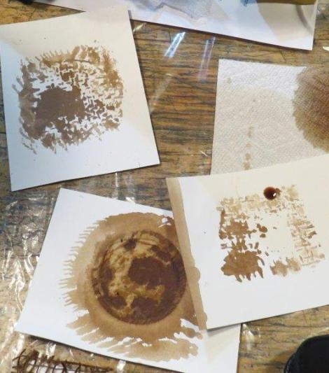 walnut ink prints on paper