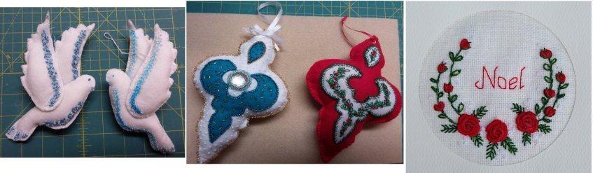 3 styles of Xmas ornaments