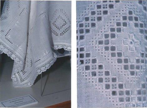 2 closeups of Hardanger tablecloth