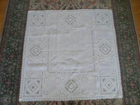 white, Hardanger tablecloth