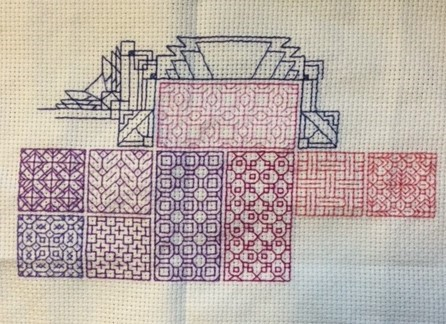 blackwork with coloured threads