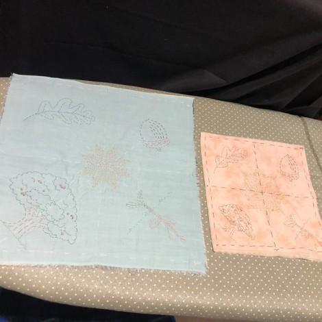 2 samples of kantha stitching