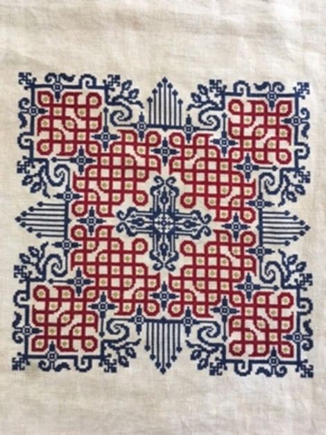 embroidery in blue and red