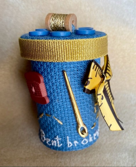 fabric covered pill bottle