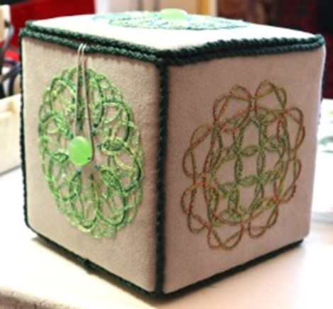 exterior of fabric box with embroidery