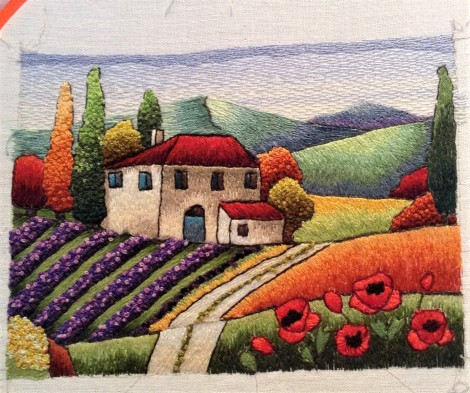 colourful Tuscan landscape in thread painting
