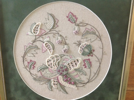 muted colour Jacobean embroidery