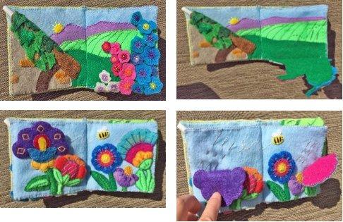needlebook with folding felt flowers