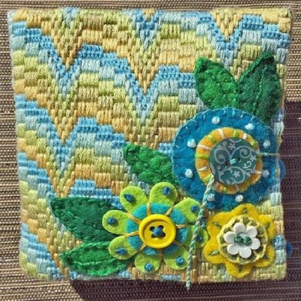 small needlebook with felt flowers